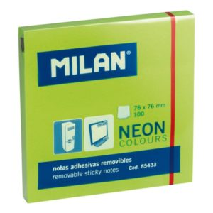 NOTES ADHESIVES VERT FLUO 76X76