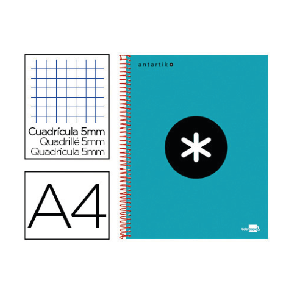 cahier spirale turquoise